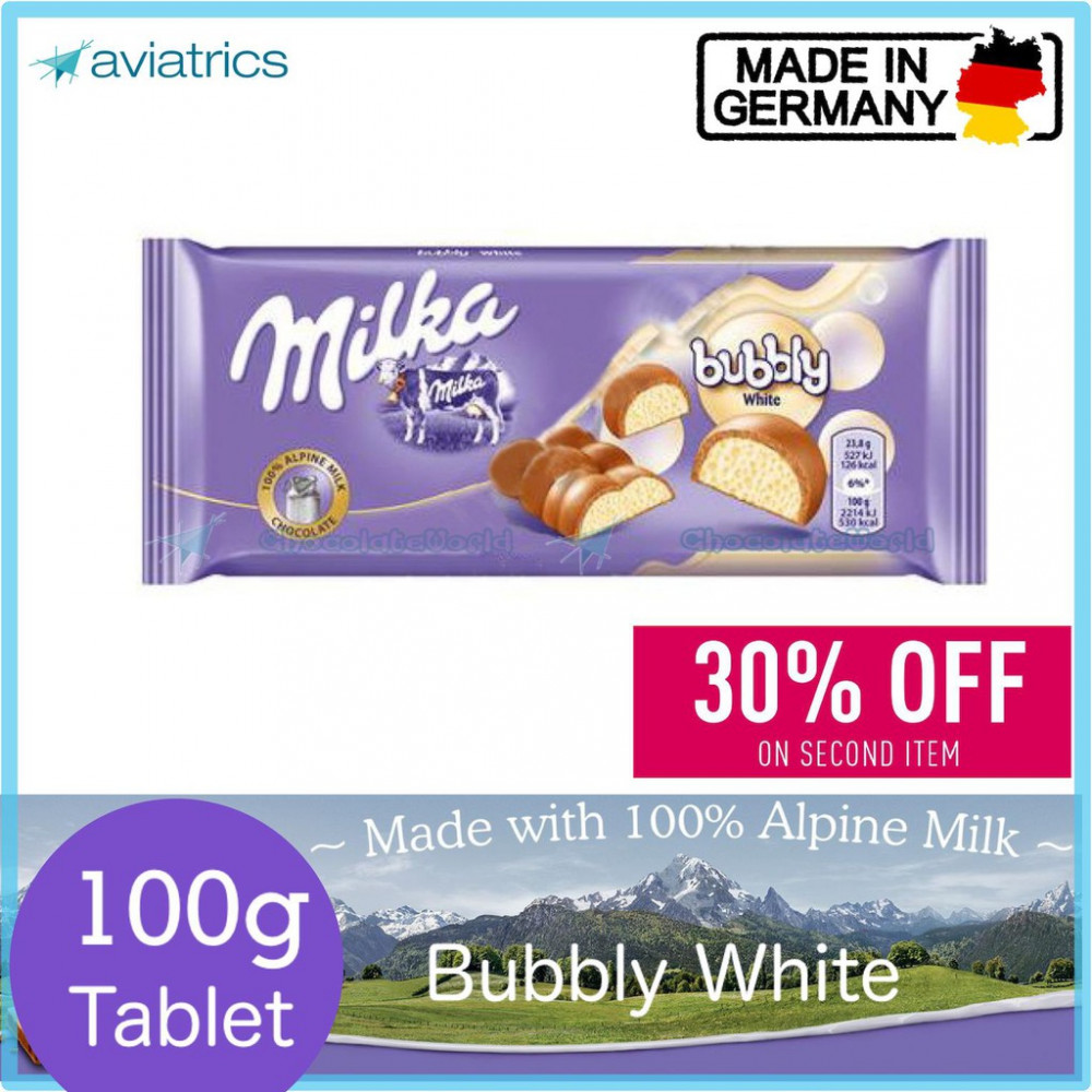 Milka White Bubbly Milk Chocolate Bar 100g (Made in Germany)