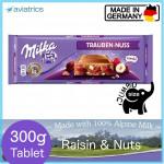 Milka Raisin Nuts Alpine Milk Chocolate 300g (Made in Germany)