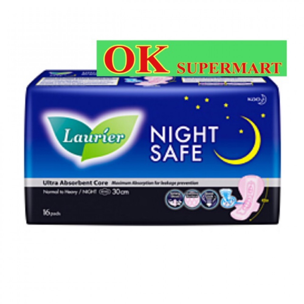 【2 Packs】Laurier Night Safe 30cm 16's