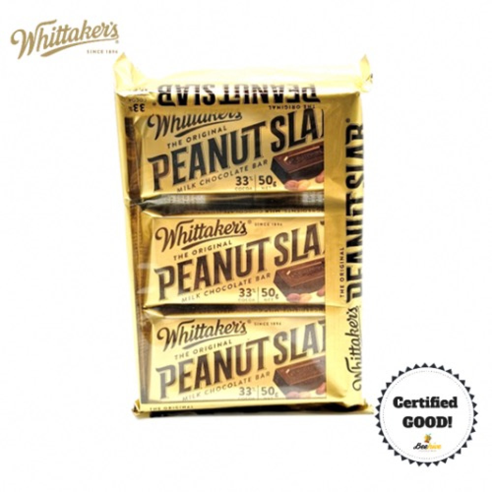Whittakers Peanut Slab Milk Chocolate 3x50g