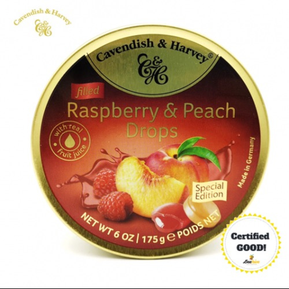 Cavendish and Harvey Raspberry and Peach Drops 175g