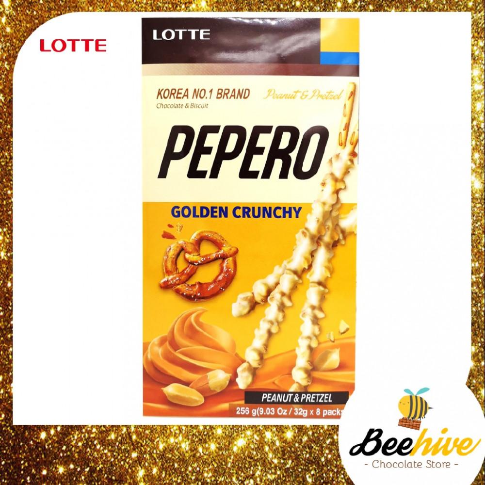 Pepero Golden Crunchy Peanut and Pretzel Chocolate Stick Biscuit 256g