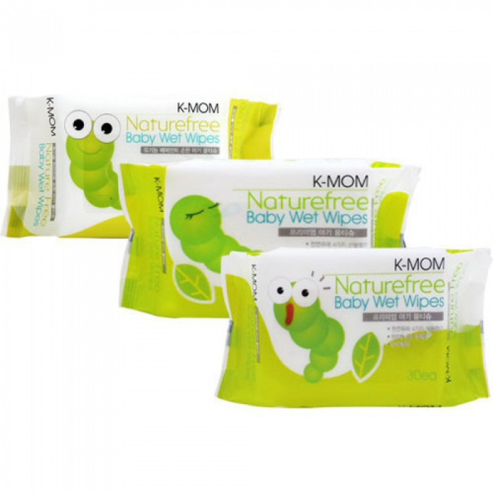 K-Mom Natural Pureness Baby Wet Wipes (30 Pcs)-Ready Stock