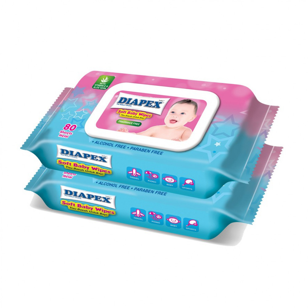 Diapex Soft Baby Wipes 80s Double Pack-Ready Stock