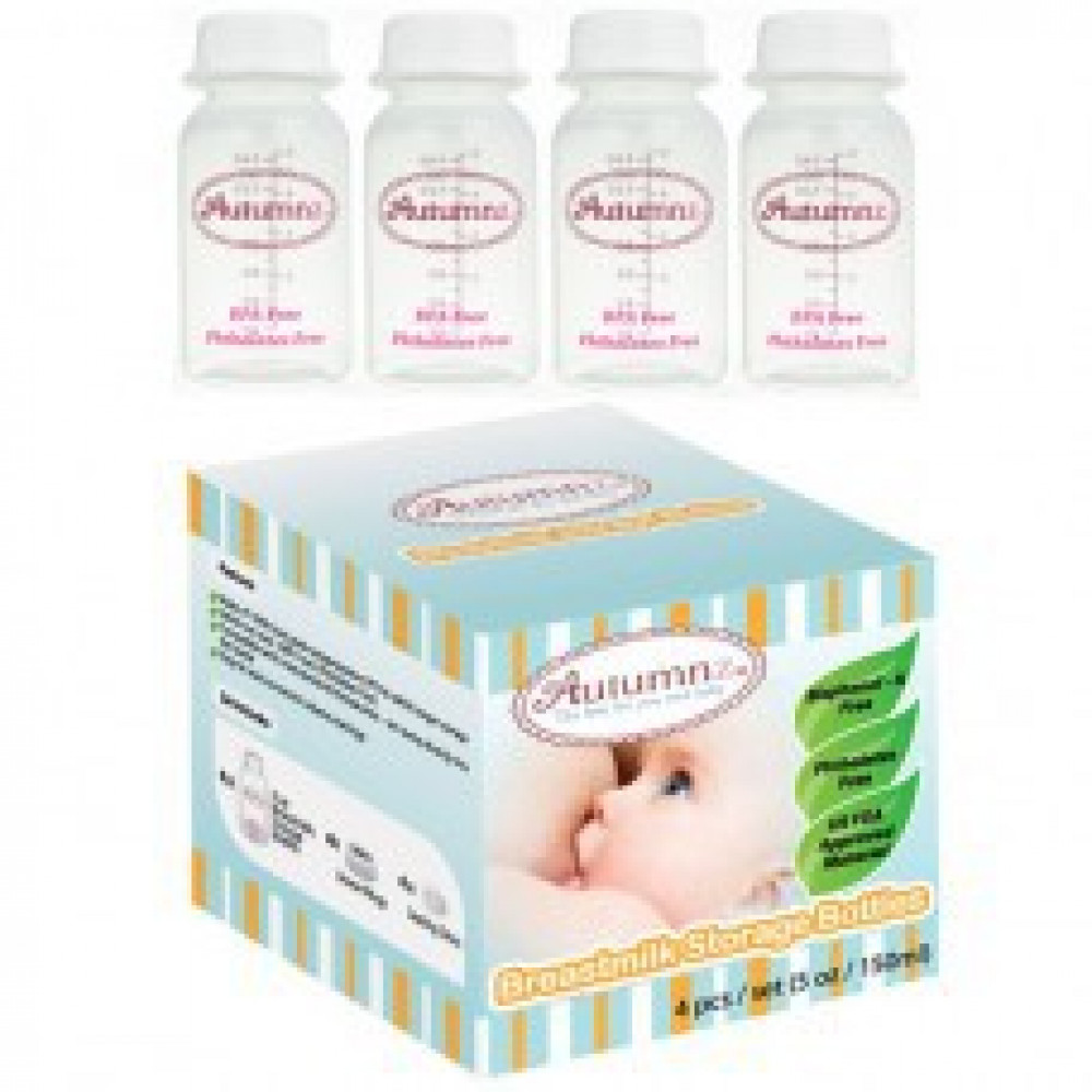 Autumnz - Breastmilk Storage Bottles (4 btls)- White Clear-Ready Stock