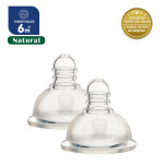 Puku Breast - Like Silicone Nipple Natural Wide Neck 2 Pcs (6M+) Three Holes-Ready Stock