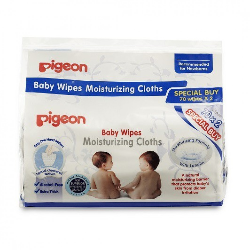 Pigeon Baby Wipes Moisturizing Cloths 70x2-Ready Stock
