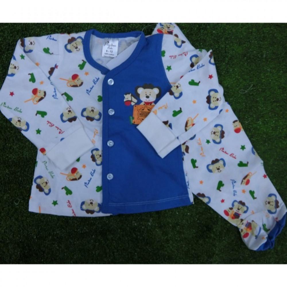 Long Sleeve Baby Cute Set Wear (blue bear)-Ready Stock