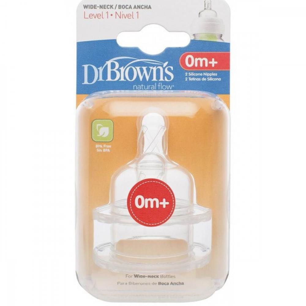 Dr Brown's Level 1 Wide Neck Nipple 2 PCS-Ready Stock
