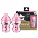 Tommee Tippee CTN PP Bottles Tinted Pink 9oz/260ml pack of 2-Ready Stock