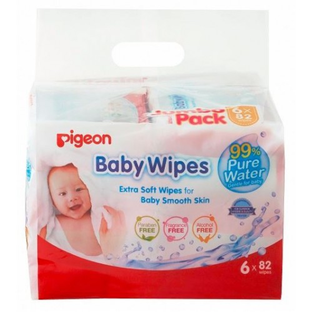 Pigeon 99% Pure Water Baby Wipes 82'SX6-Ready Stock