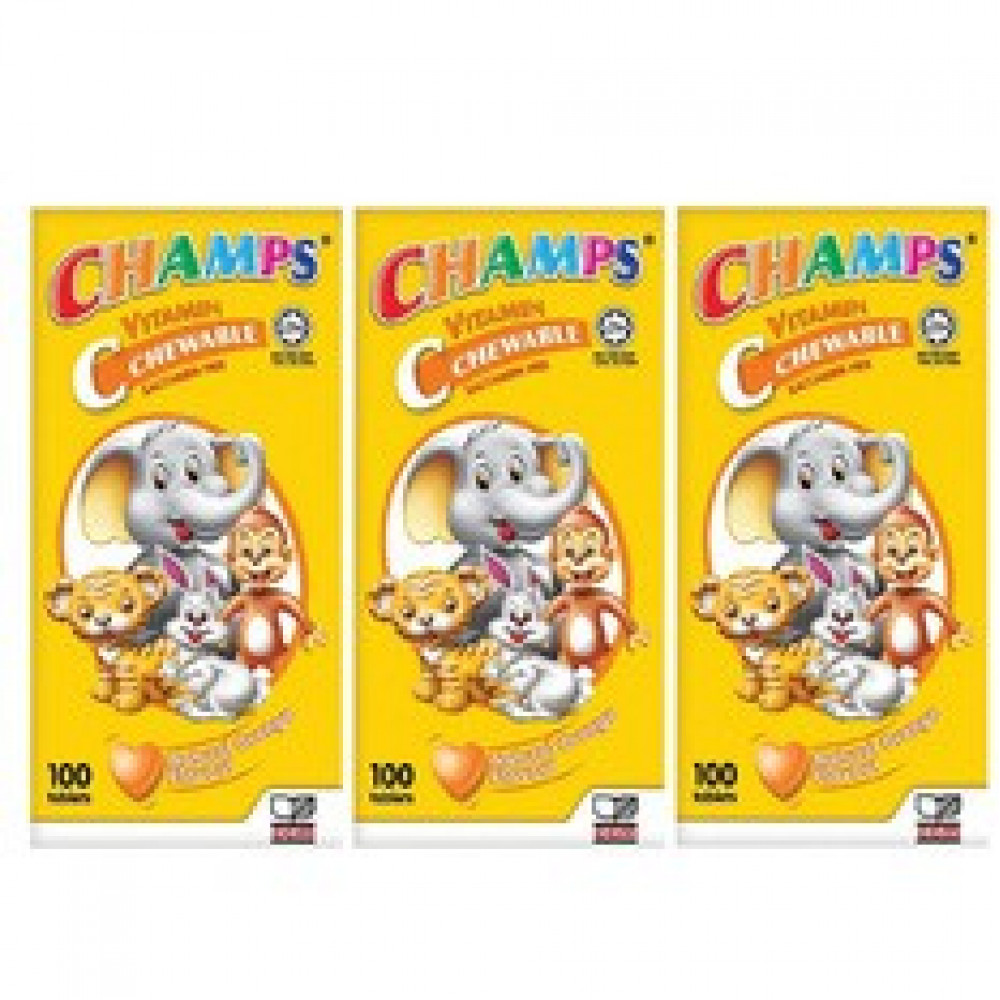 Champs Vitamin C 100Tablets x 3 Bottles (Orange Flavor)-Ready Stock