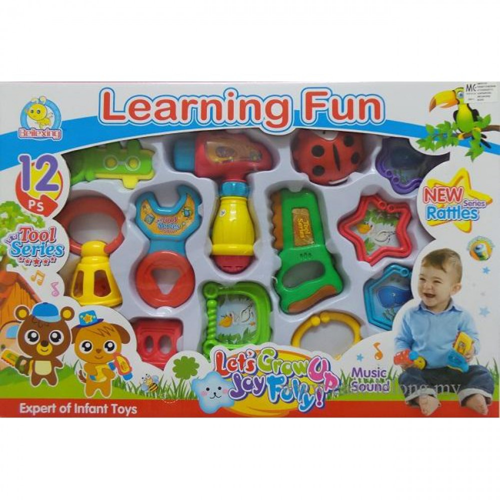 BeiLeXing Learning Fun Rattle Set Baby Toy Music Baby 6 M+ 12pcs in 1-Ready Stock