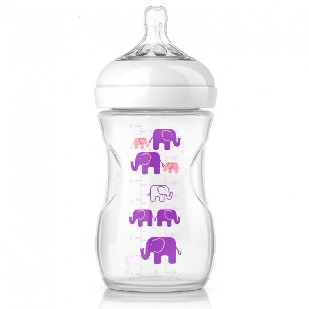 Avent Natural Exclusive Elephant Design Bottle Pink & Purple