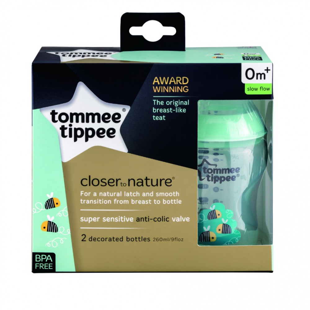 Tommee Tippee Decorated Bottles Green Twin Pack (2 x 9oz/260ml)
