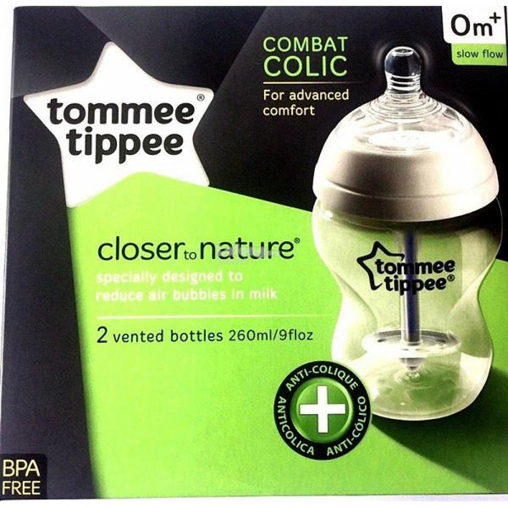 Tommee Tippee - Closer to Nature Anti Colic Plus 260ml/9oz Twin Pack Bottles