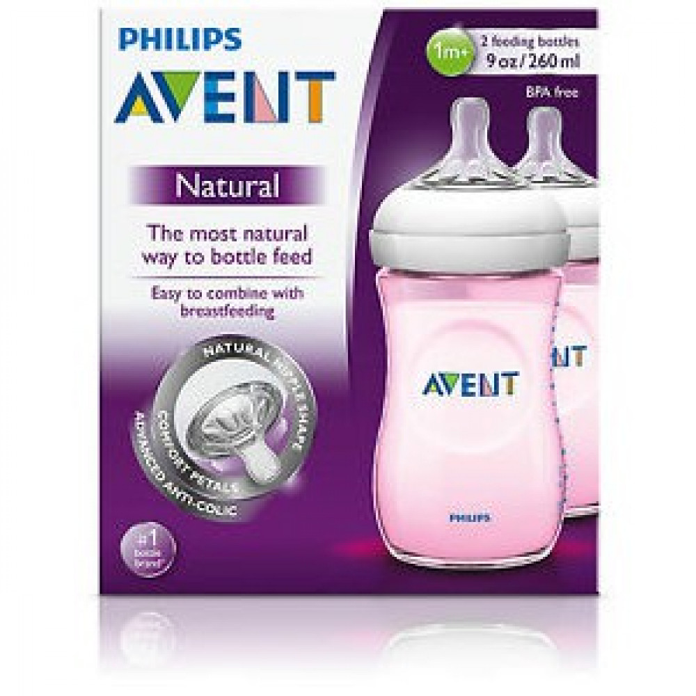 Philips AVENT Pink Natural Bottle 260ml/9oz-Twin Pack-Ready Stock