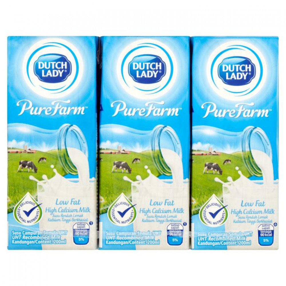 Dutch Lady Low Fat High-Calcium Milk (6x200ml)