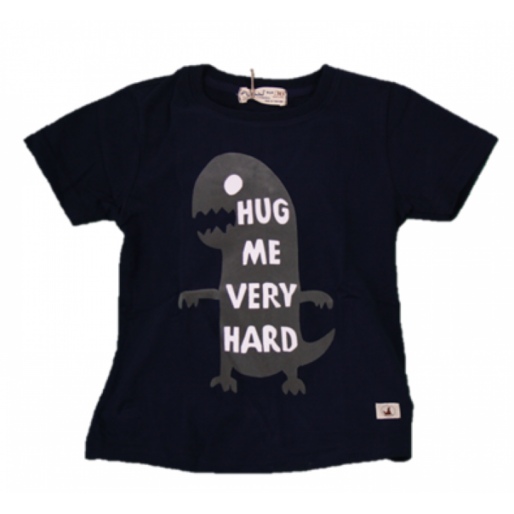 BABY BOYS DINO HUG BLUE T-SHIRT (FREE SHORTS) FLYNN COLLECTION