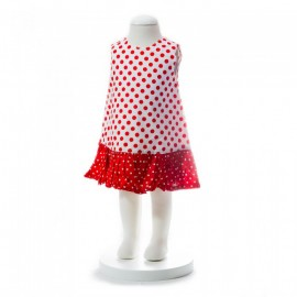 image of BABY GIRLS SUMMER STYLE RED POLKA DOT DRESS