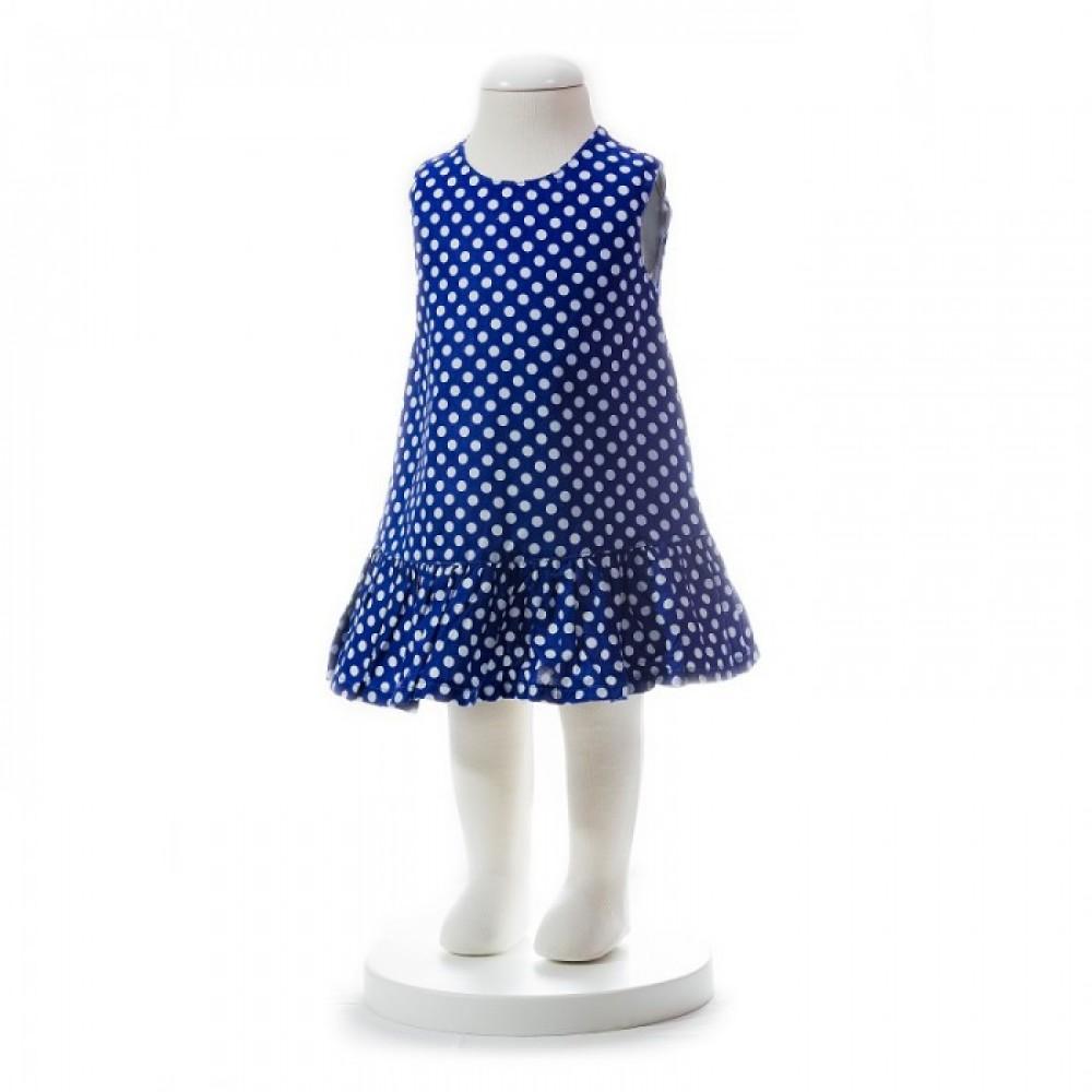 BABY GIRLS SUMMER STYLE BLUE POLKA DOT DRESS