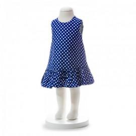 image of BABY GIRLS SUMMER STYLE BLUE POLKA DOT DRESS