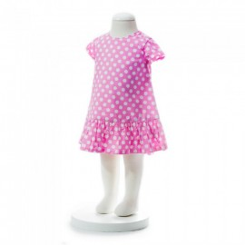 image of BABY GIRLS SUMMER STYLE PINK POLKA DOT DRESS
