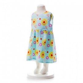 image of BABY GIRLS SUMMER STYLE RIBBON PATTERN PRINTED DRESS