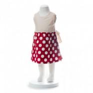 image of BABY GIRLS SUMMER STYLE RIBBON RED POLKA DOT DRESS