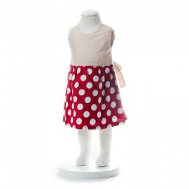 image of BABY GIRLS SUMMER STYLE RIBBON RED POLKA DOT DRESS