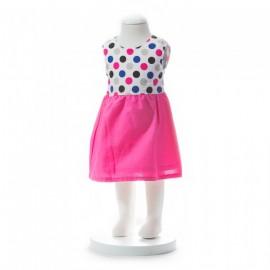 image of BABY GIRLS SUMMER STYLE RIBBON PINK POLKA DOT DRESS