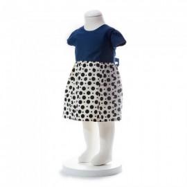 image of BABY GIRLS SUMMER STYLE RIBBON BLUE POLKA DOT DRESS