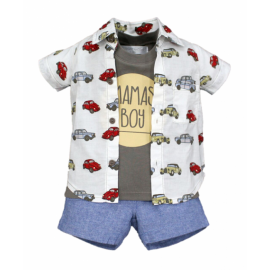 image of BABY BOYS CLASSIC CARS SHIRT, TANKTOP & SHORTS SET