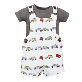 image of BABY BOYS LIMITED EDITION CLASSIC CARS T-SHIRT & BIB PANTS