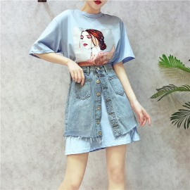 image of Korean 3d DressT Jeans Skirt Irregular