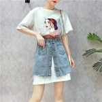 Korean 3d DressT Jeans Skirt Irregular