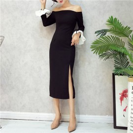 image of Collar Strapless Sleeve Tie Split dress 一字领喇叭袖开叉连身裙