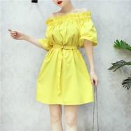 image of Korean Summer bare shoulders wood ear edge collar waist belt