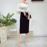 image of Off shoulder lace long dress 一字领蕾丝连身裙