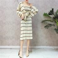 image of Knit Cardigan Coat Stripe Dresses 针织开衫外套条纹连身裙
