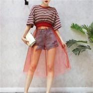 image of Korean Knitted striped T-shirt stitching mesh Dress 针织条纹T恤网纱连身裙