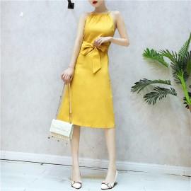 image of sleeveless dress free belt 吊带裙无袖连衣裙