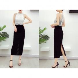 image of Korean Lace Vest Mosaic Split Dress 蕾丝边背心开叉连身裙