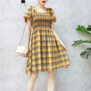 image of Summer retro girls fold lattice first love dresses 复古褶皱A字格子初恋裙