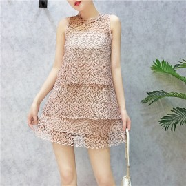 image of Korean lace flower hollow sleeveless layer skirt 蕾丝钩花无袖显瘦层层连身裙