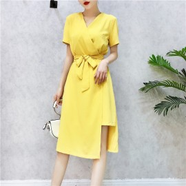 image of Korean short-sleeved irregular slit sukol chiffon dresses 不规则开叉雪纺连衣裙