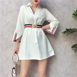 image of Korean woman's V-neck slit sleeve color belt Dresses V领开叉七分袖彩条腰带修身连身裙