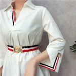 Korean woman's V-neck slit sleeve color belt Dresses V领开叉七分袖彩条腰带修身连身裙