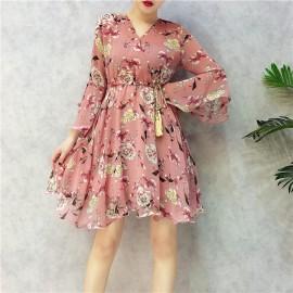 image of Summer Floral chiffon horn sleeve fairy dresses 小清新碎花雪纺连身裙