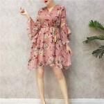 Summer Floral chiffon horn sleeve fairy dresses 小清新碎花雪纺连身裙